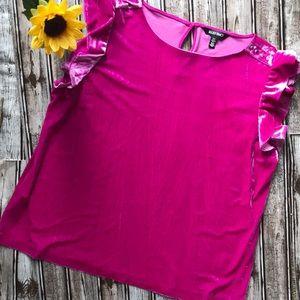 Ellen Tracy velvet velour magenta pink top